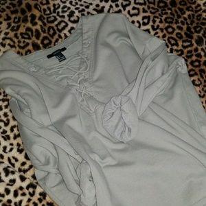Sage baggy lace up hoodie